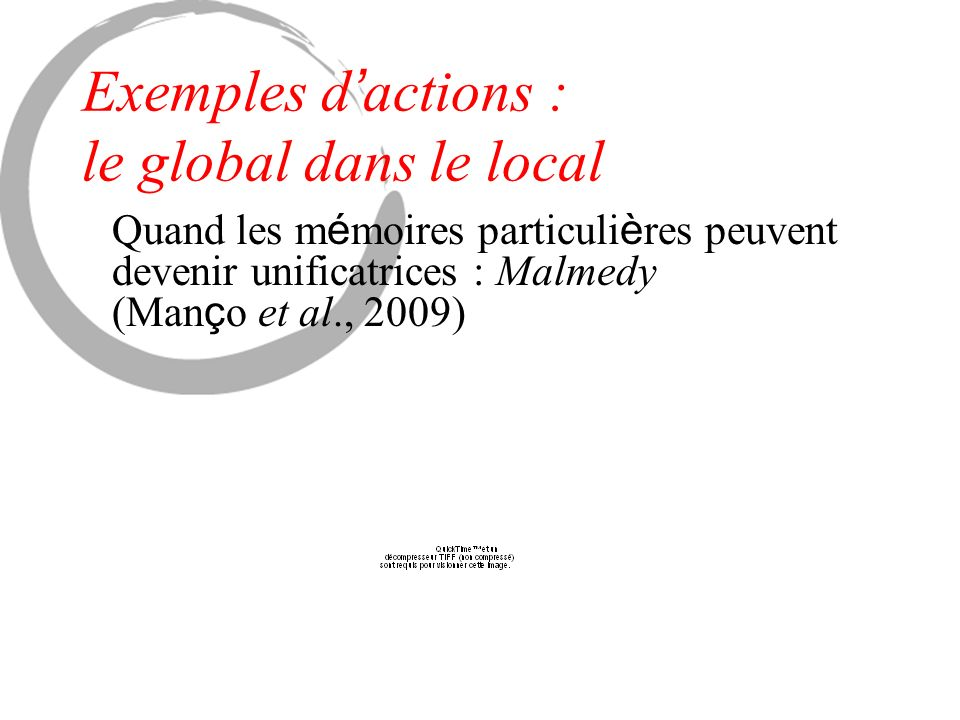 Exemples d actions : le global dans le local Quand les m é moires particuli è res peuvent devenir unificatrices : Malmedy (Man ç o et al., 2009)