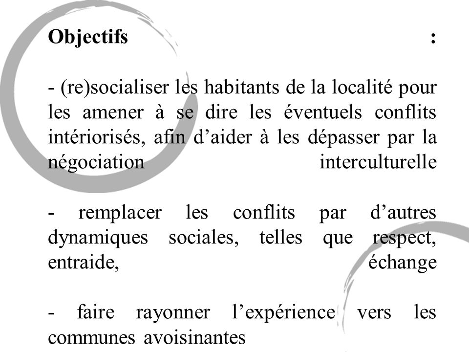 Objectifs : - (re)socialiser les habitants de la localité pour les amener à se dire les éventuels conflits intériorisés, afin daider à les dépasser pa