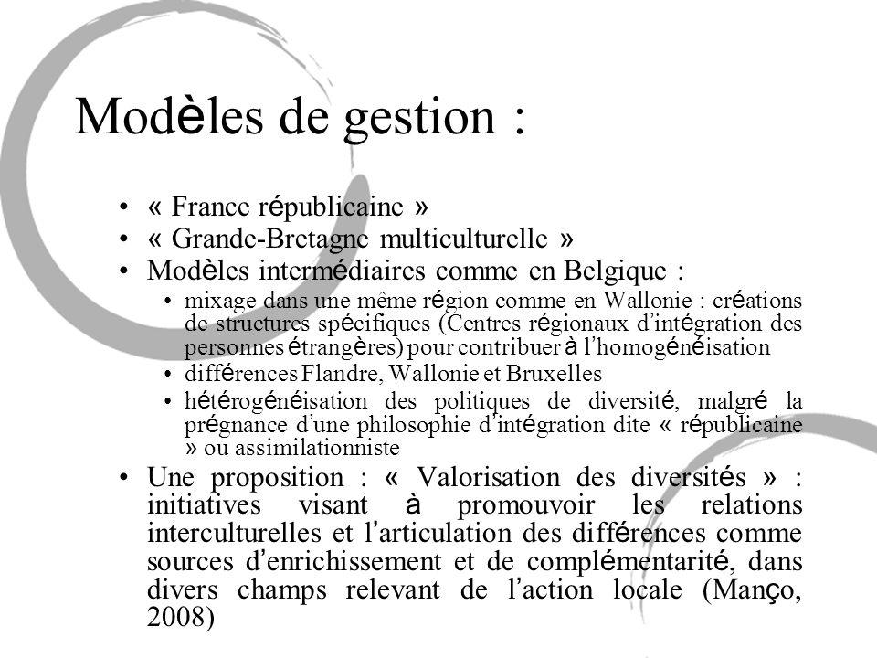 Mod è les de gestion : « France r é publicaine » « Grande-Bretagne multiculturelle » Mod è les interm é diaires comme en Belgique : mixage dans une mê