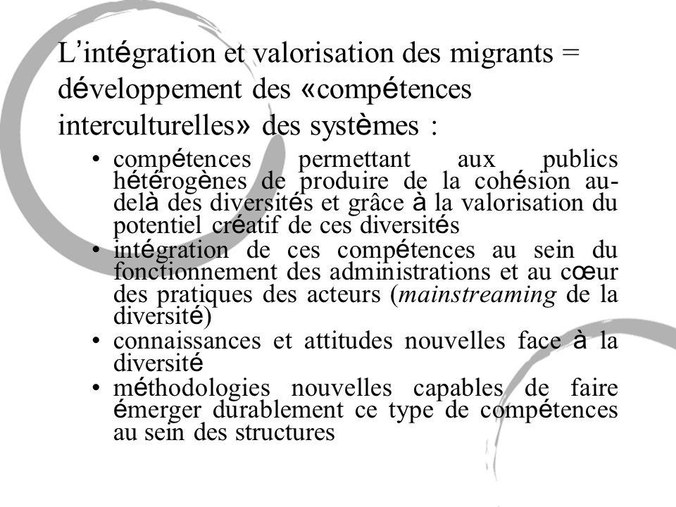 L int é gration et valorisation des migrants = d é veloppement des « comp é tences interculturelles » des syst è mes : comp é tences permettant aux pu