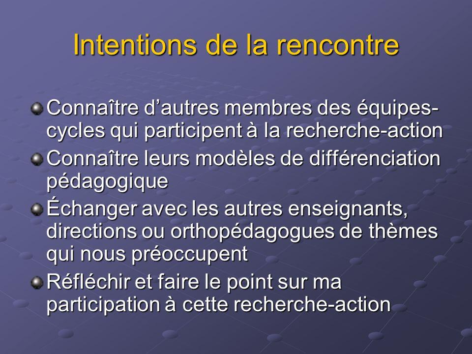 La différenciation pédagogique en Montérégie: Une recherche-action Rencontre collective des participants 23 mai 2006