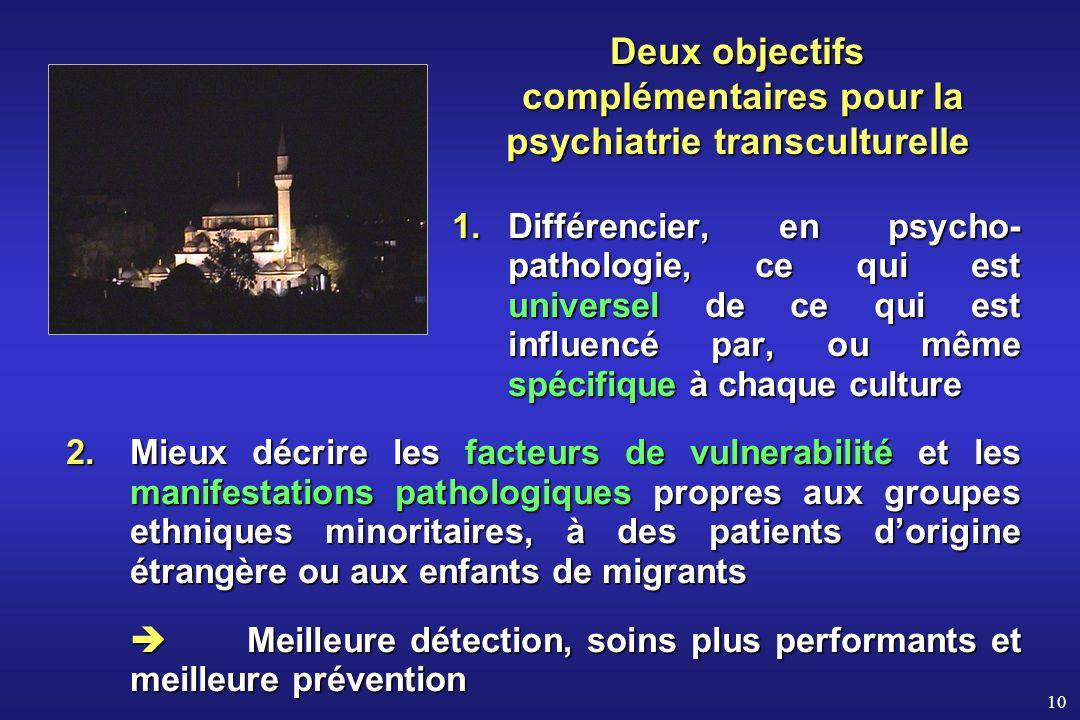 10 Deux objectifs complémentaires pour la psychiatrietransculturelle Deux objectifs complémentaires pour la psychiatrie transculturelle 1.Différencier