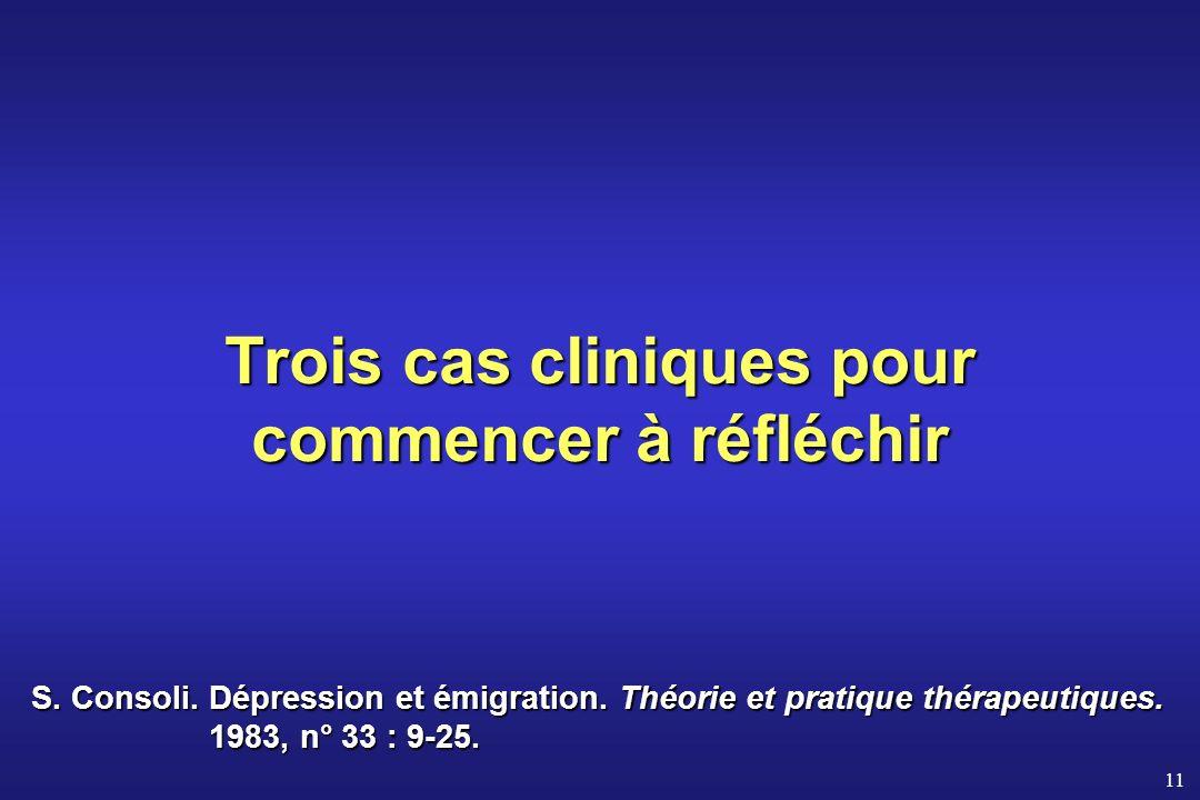 11 Trois cas cliniques pour commencer à réfléchir S. Consoli. Dépression et émigration. Théorie et pratique thérapeutiques. 1983, n° 33 : 9-25.