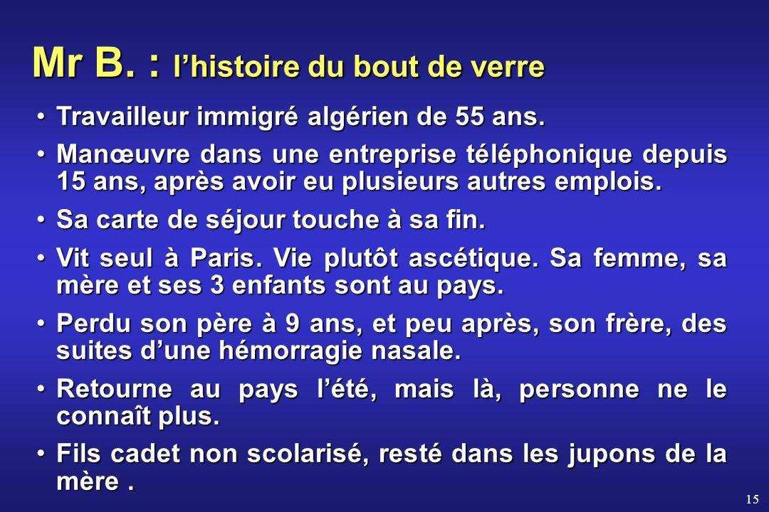 15 Mr B. : lhistoire du bout de verre Travailleur immigré algérien de 55 ans.Travailleur immigré algérien de 55 ans. Manœuvre dans une entreprise télé