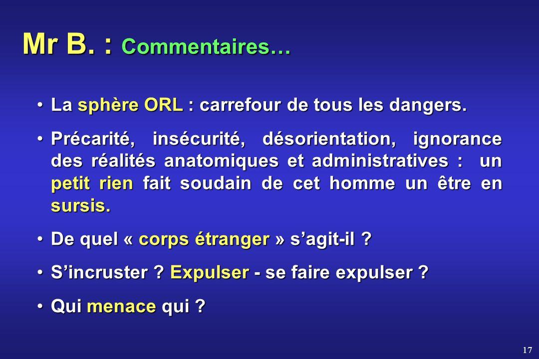 17 Mr B. : Commentaires… La sphère ORL : carrefour de tous les dangers.La sphère ORL : carrefour de tous les dangers. Précarité, insécurité, désorient