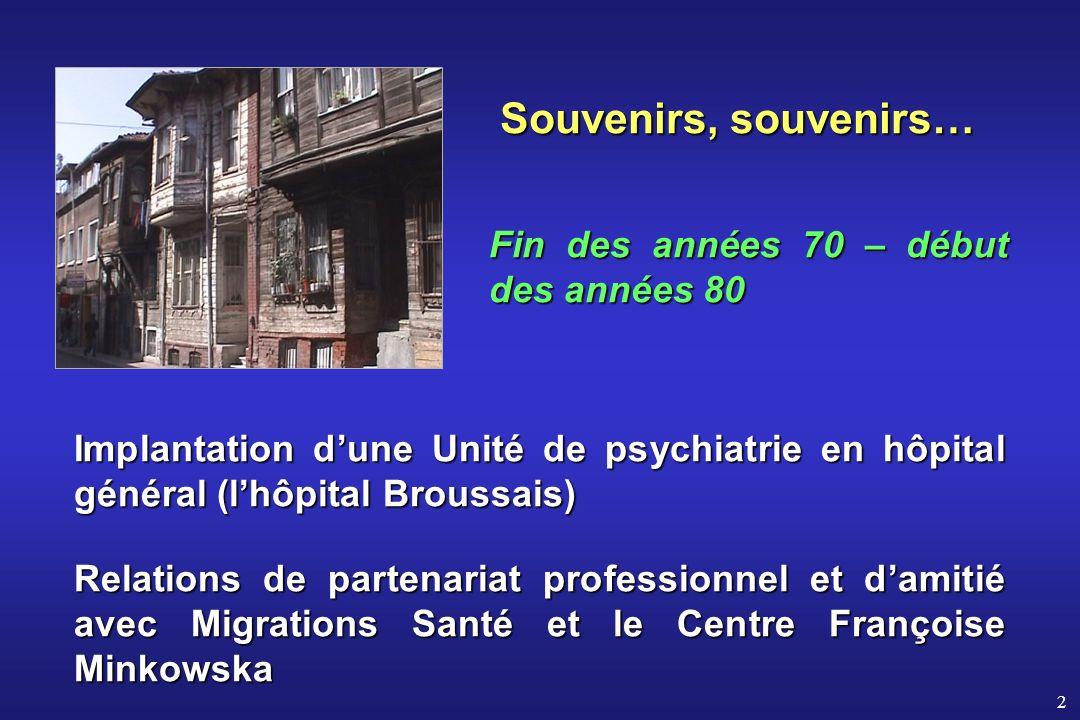 2 Souvenirs, souvenirs… Fin des années 70 – début des années 80 Implantation dune Unité de psychiatrie en hôpital général (lhôpital Broussais) Relatio