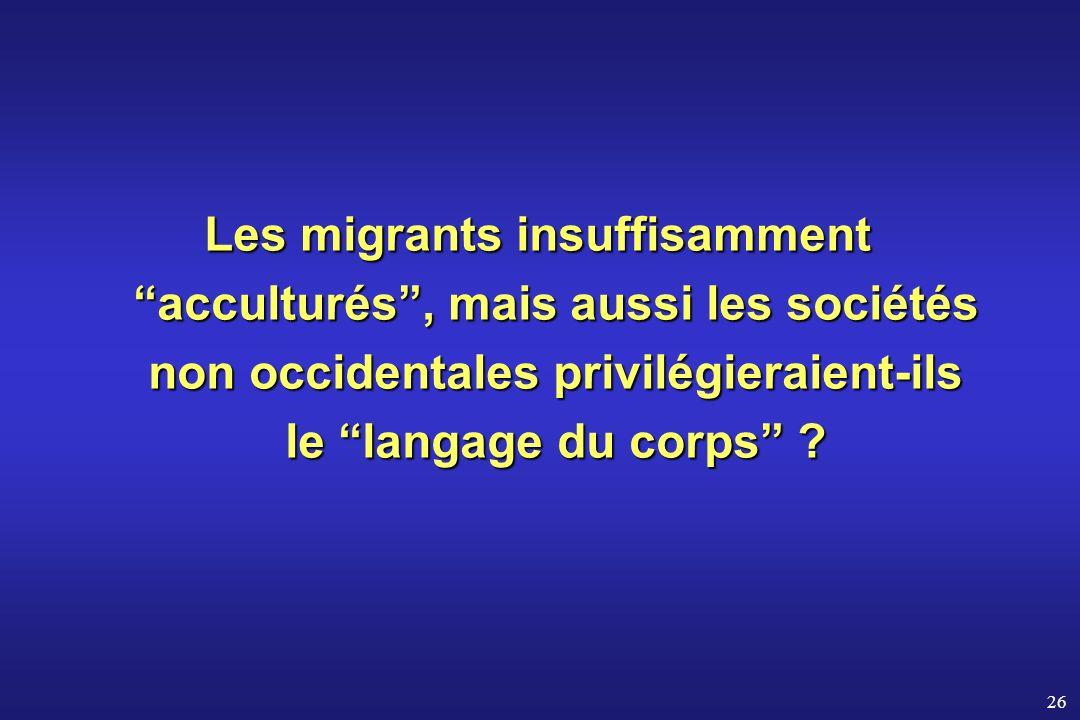 26 Les migrants insuffisamment acculturés, mais aussi les sociétés non occidentales privilégieraient-ils le langage du corps ?