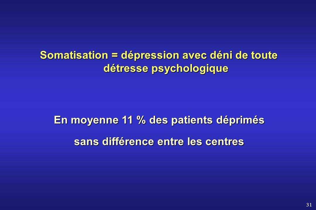 31 Somatisation = dépression avec déni de toute détresse psychologique En moyenne 11 % des patients déprimés sans différence entre les centres