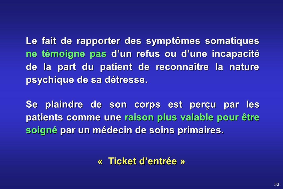 33 Le fait de rapporter des symptômes somatiques ne témoigne pas dun refus ou dune incapacité de la part du patient de reconnaître la nature psychique