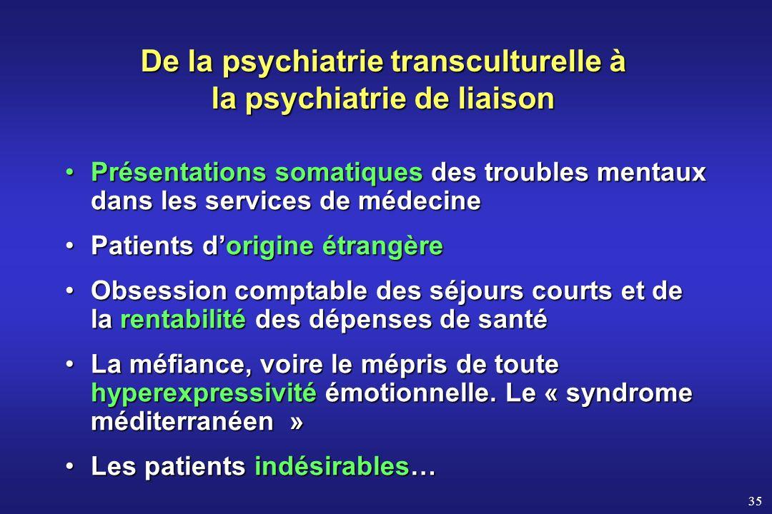 35 Présentations somatiques des troubles mentaux dans les services de médecinePrésentations somatiques des troubles mentaux dans les services de médec