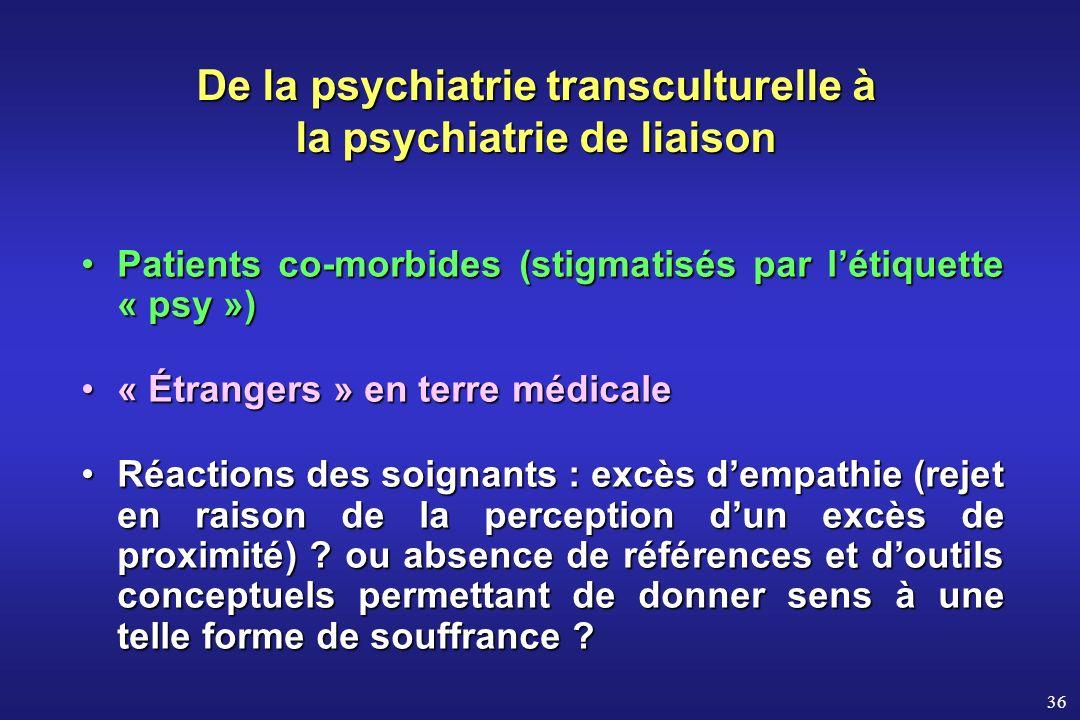 36 Patients co-morbides (stigmatisés par létiquette « psy »)Patients co-morbides (stigmatisés par létiquette « psy ») « Étrangers » en terre médicale«