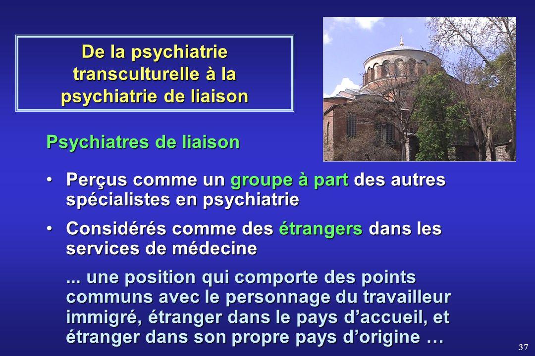 37 Psychiatres de liaison Perçus comme un groupe à part des autres spécialistes en psychiatriePerçus comme un groupe à part des autres spécialistes en