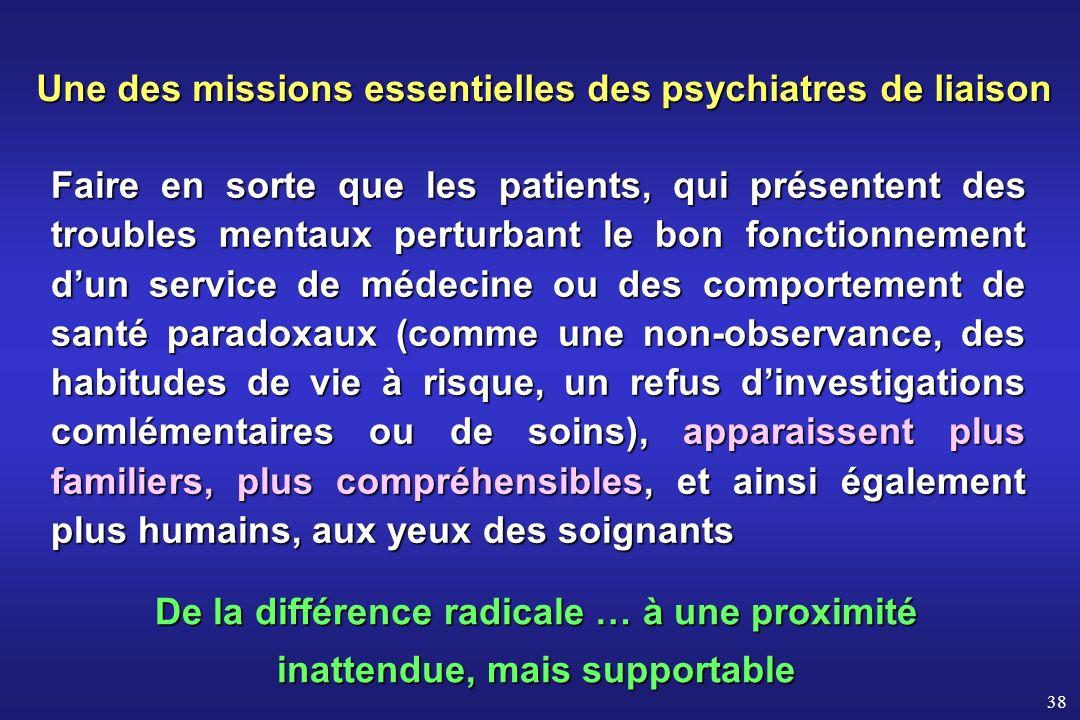 38 Faire en sorte que les patients, qui présentent des troubles mentaux perturbant le bon fonctionnement dun service de médecine ou des comportement d
