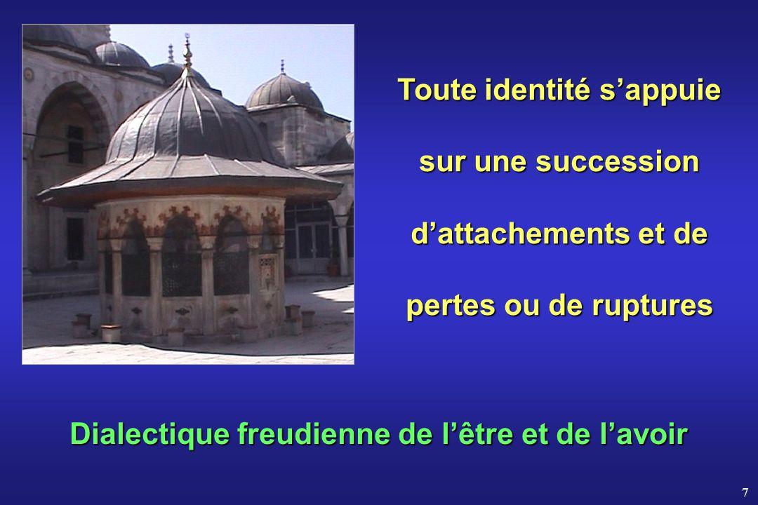 7 Dialectique freudienne de lêtre et de lavoir Toute identité sappuie sur une succession dattachements et de pertes ou de ruptures