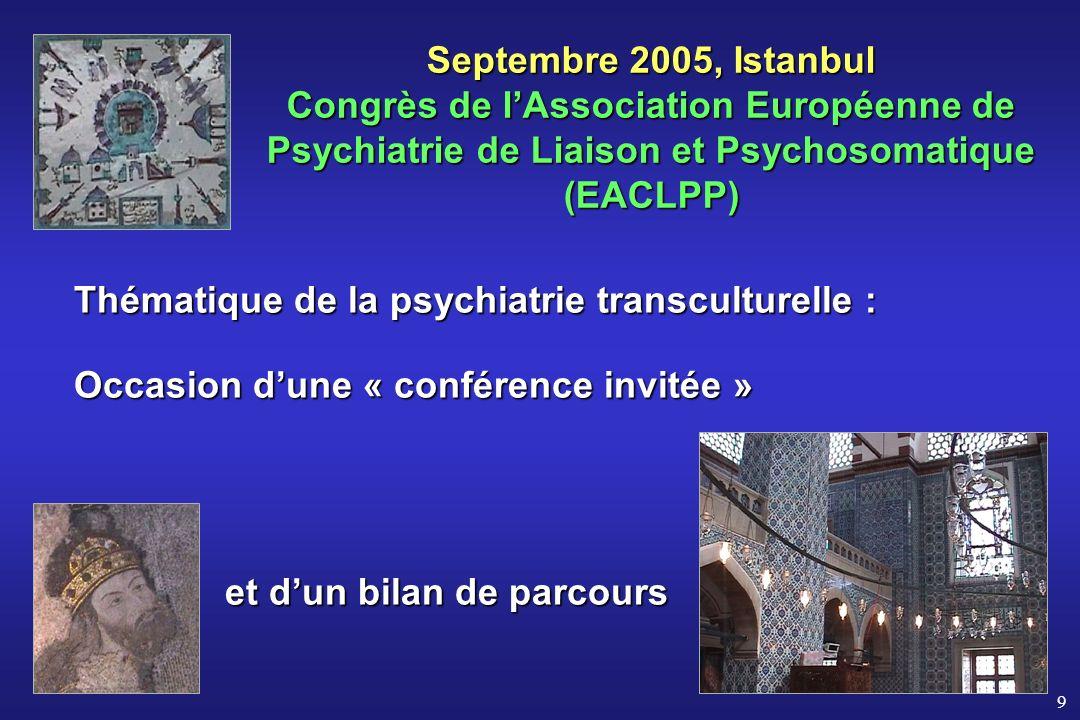 9 Septembre 2005, Istanbul Congrès de lAssociation Européenne de Psychiatrie de Liaison et Psychosomatique (EACLPP) Thématique de la psychiatrie trans