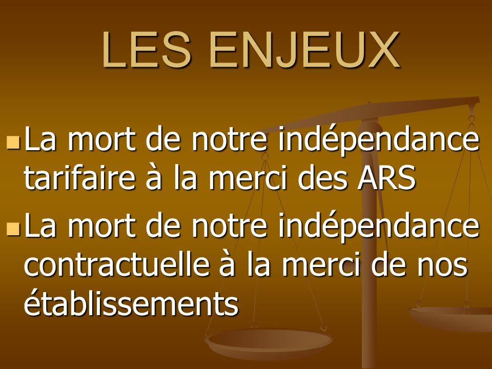 LES ENJEUX La mort de notre indépendance tarifaire à la merci des ARS La mort de notre indépendance tarifaire à la merci des ARS La mort de notre indé