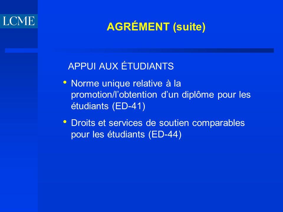 AGRÉMENT (suite) APPUI AUX ÉTUDIANTS Norme unique relative à la promotion/lobtention dun diplôme pour les étudiants (ED-41) Droits et services de soutien comparables pour les étudiants (ED-44)