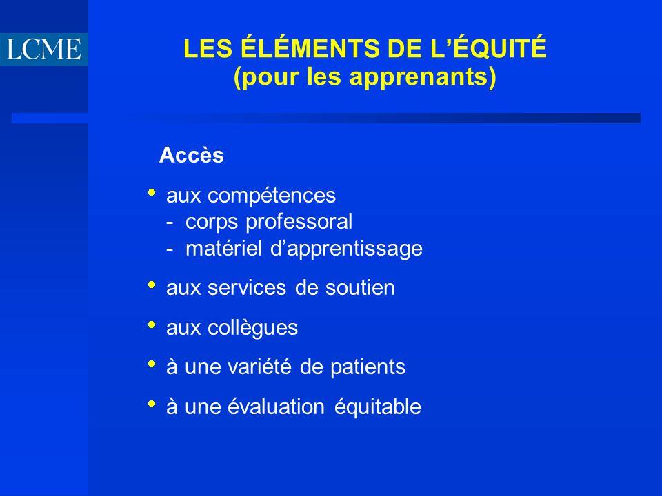 LES ÉLÉMENTS DE LÉQUITÉ (pour les apprenants) Accès aux compétences - corps professoral - matériel dapprentissage aux services de soutien aux collègues à une variété de patients à une évaluation équitable