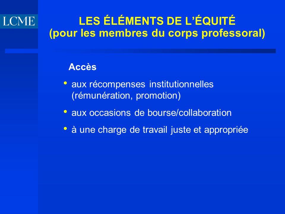 LES ÉLÉMENTS DE LÉQUITÉ (pour les membres du corps professoral) Accès aux récompenses institutionnelles (rémunération, promotion) aux occasions de bourse/collaboration à une charge de travail juste et appropriée