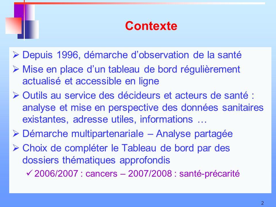 2 Contexte Depuis 1996, démarche dobservation de la santé Mise en place dun tableau de bord régulièrement actualisé et accessible en ligne Outils au s