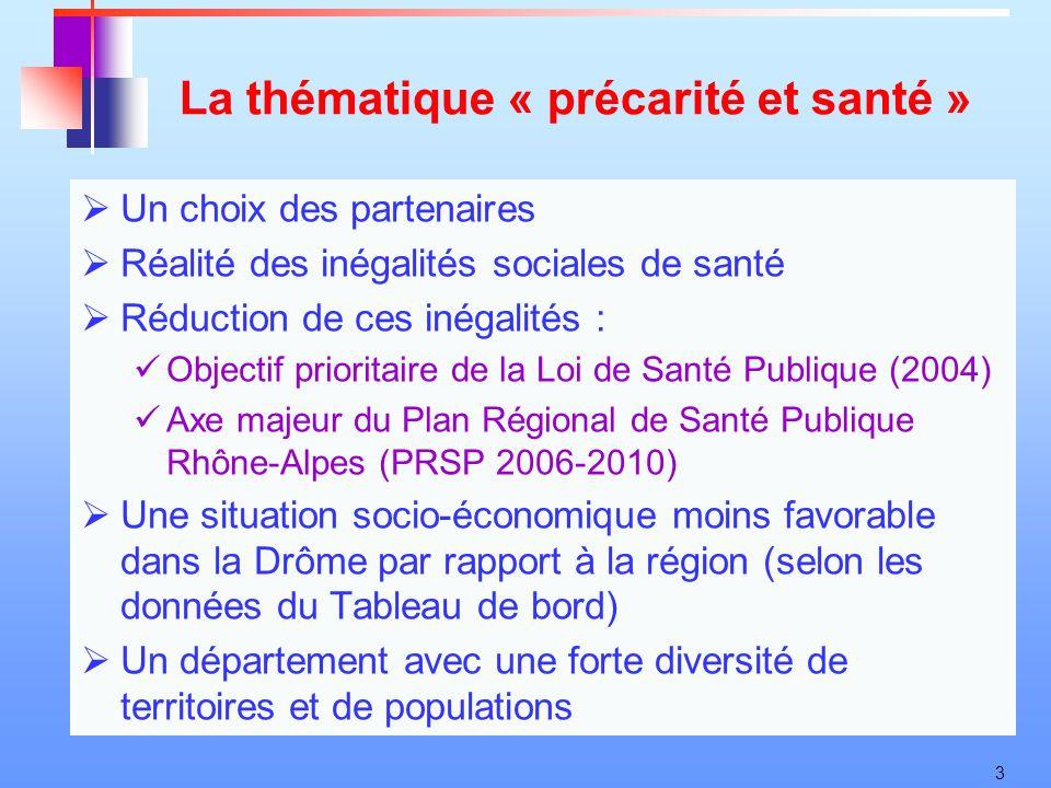 3 La thématique « précarité et santé » Un choix des partenaires Réalité des inégalités sociales de santé Réduction de ces inégalités : Objectif priori