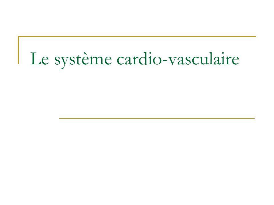 Schéma général du système cardio- vasculaire Vaisseaux sanguins Pompe (cœur) Cœur droit Cœur gauche Circulation pulmonaire Circulation systémique Artères Veines