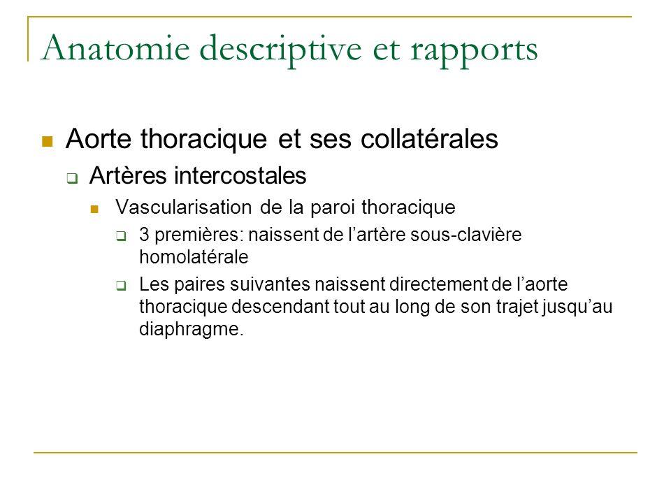 Anatomie descriptive et rapports Aorte thoracique et ses collatérales Artères intercostales Vascularisation de la paroi thoracique 3 premières: naisse