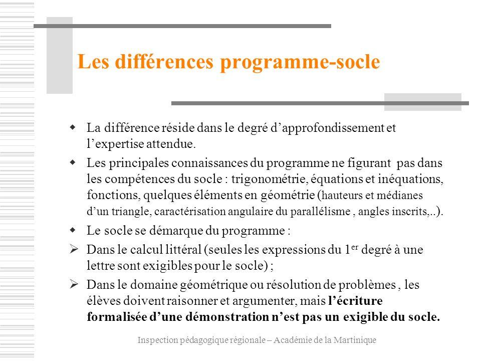 Inspection pédagogique régionale – Académie de la Martinique Les différences programme-socle La différence réside dans le degré dapprofondissement et