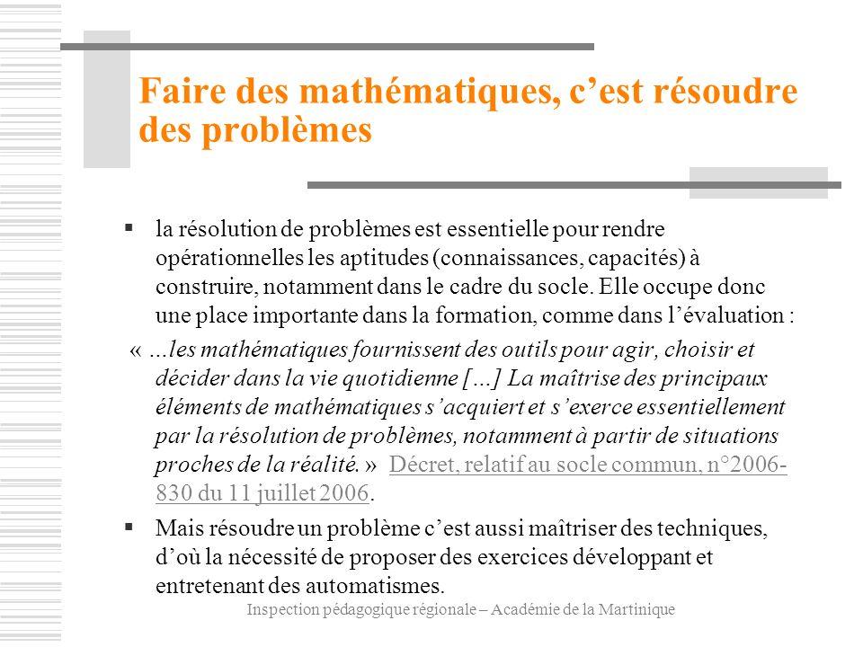 Inspection pédagogique régionale – Académie de la Martinique Faire des mathématiques, cest résoudre des problèmes la résolution de problèmes est essen
