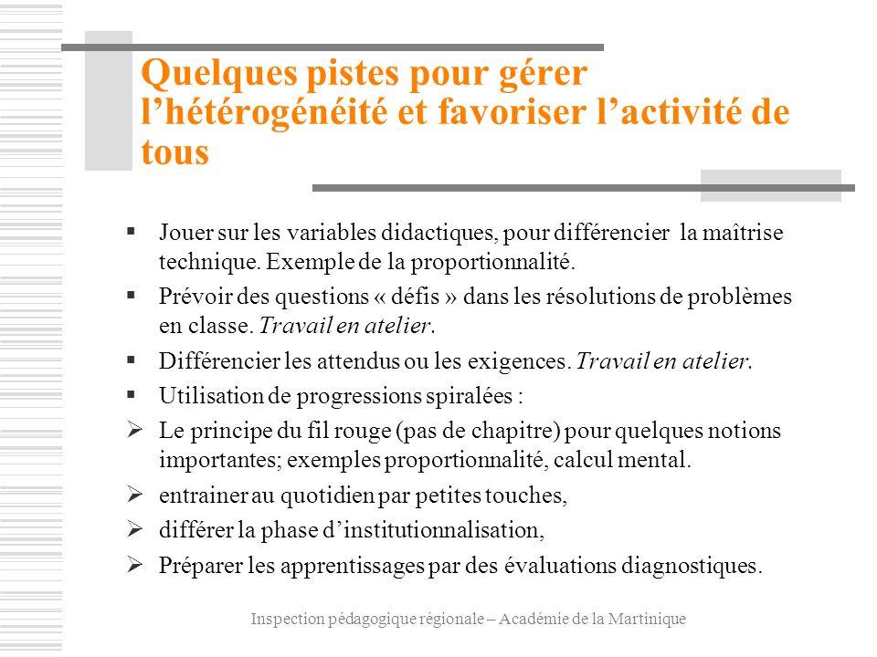 Inspection pédagogique régionale – Académie de la Martinique Quelques pistes pour gérer lhétérogénéité et favoriser lactivité de tous Jouer sur les va
