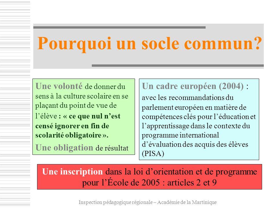Inspection pédagogique régionale – Académie de la Martinique Pourquoi un socle commun? Un cadre européen (2004) : avec les recommandations du parlemen