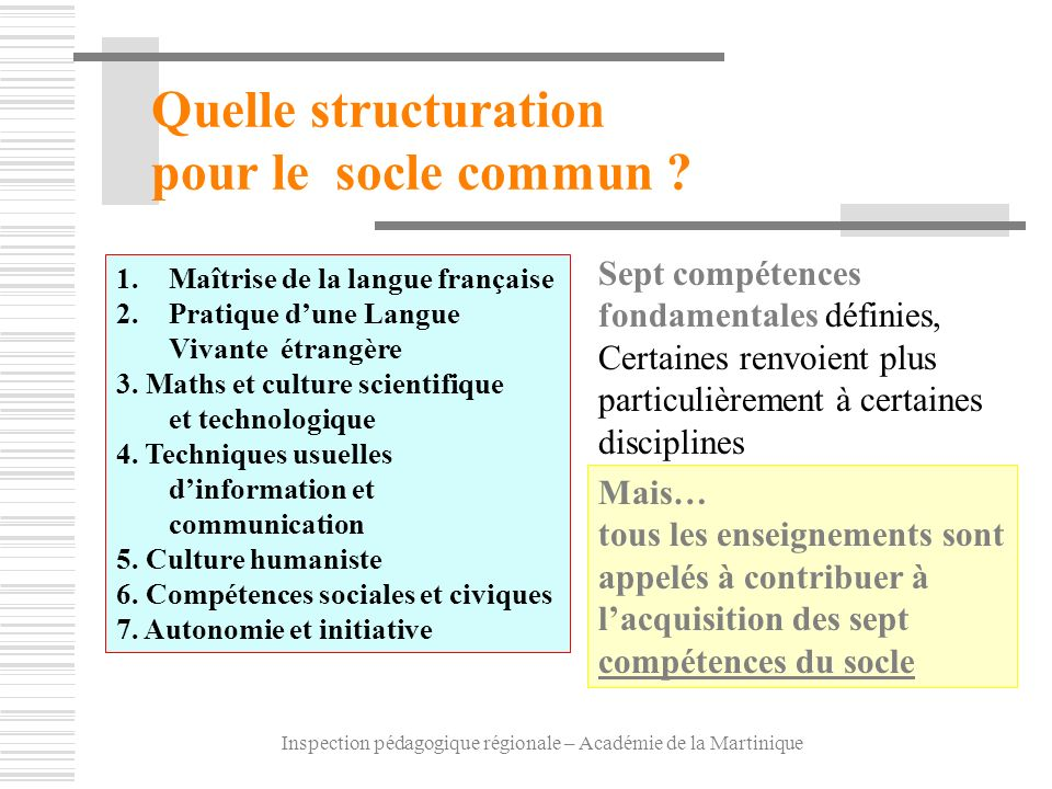 Inspection pédagogique régionale – Académie de la Martinique Sept compétences fondamentales définies, Certaines renvoient plus particulièrement à cert