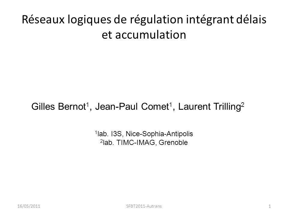 Réseaux logiques de régulation intégrant délais et accumulation 16/05/20111SFBT2011-Autrans Gilles Bernot 1, Jean-Paul Comet 1, Laurent Trilling 2 1 lab.