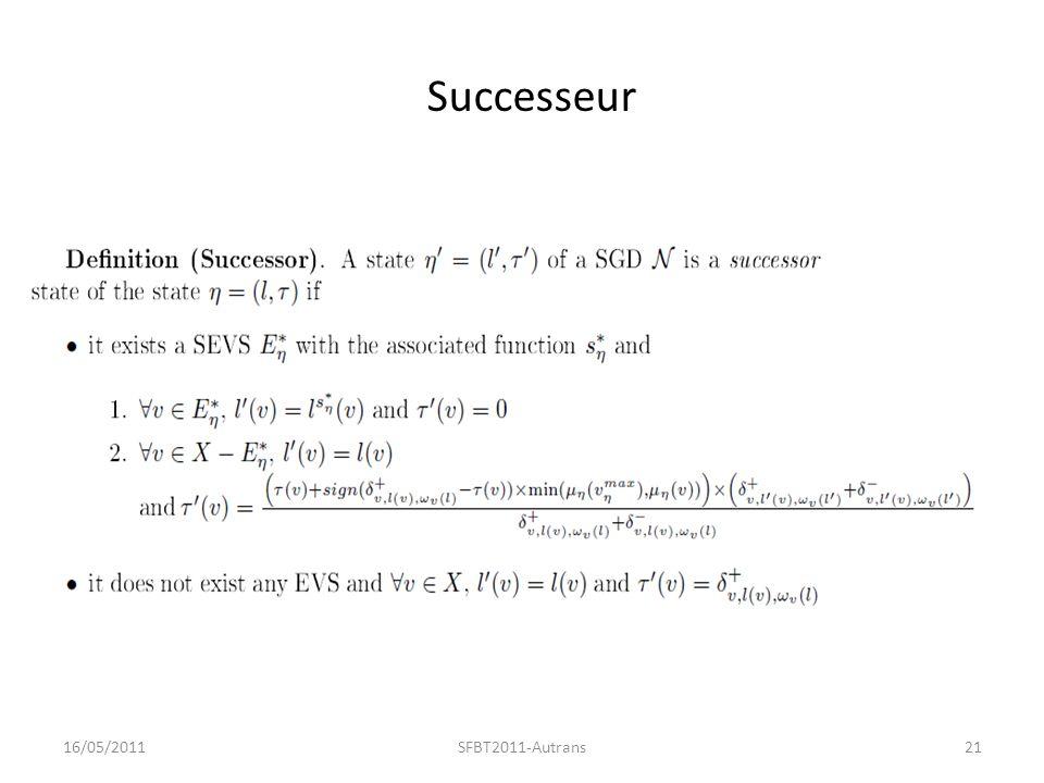 Successeur 16/05/201121SFBT2011-Autrans