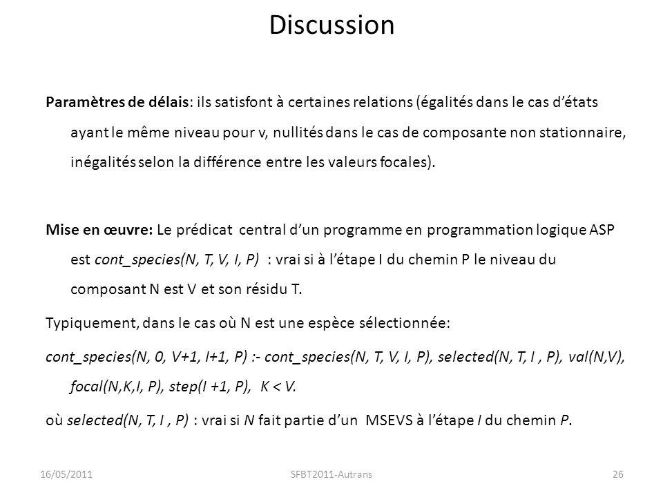 Discussion Paramètres de délais: ils satisfont à certaines relations (égalités dans le cas détats ayant le même niveau pour v, nullités dans le cas de composante non stationnaire, inégalités selon la différence entre les valeurs focales).