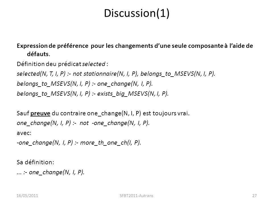 Discussion(1) Expression de préférence pour les changements dune seule composante à laide de défauts.