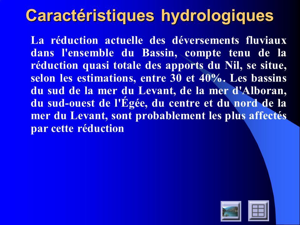 Caractéristiques hydrologiques La réduction actuelle des déversements fluviaux dans l'ensemble du Bassin, compte tenu de la réduction quasi totale des