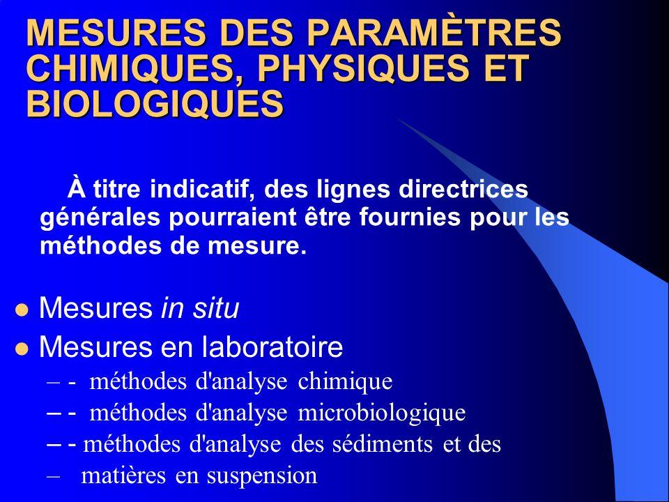 MESURES DES PARAMÈTRES CHIMIQUES, PHYSIQUES ET BIOLOGIQUES À titre indicatif, des lignes directrices générales pourraient être fournies pour les métho