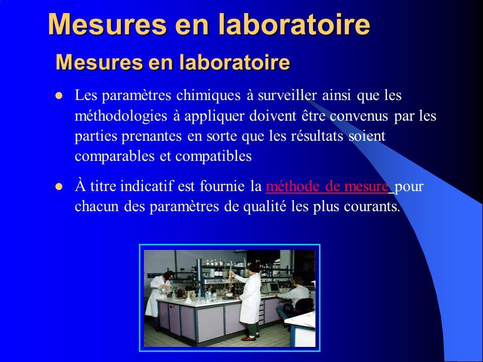 Mesures en laboratoire Mesures en laboratoire Les paramètres chimiques à surveiller ainsi que les méthodologies à appliquer doivent être convenus par