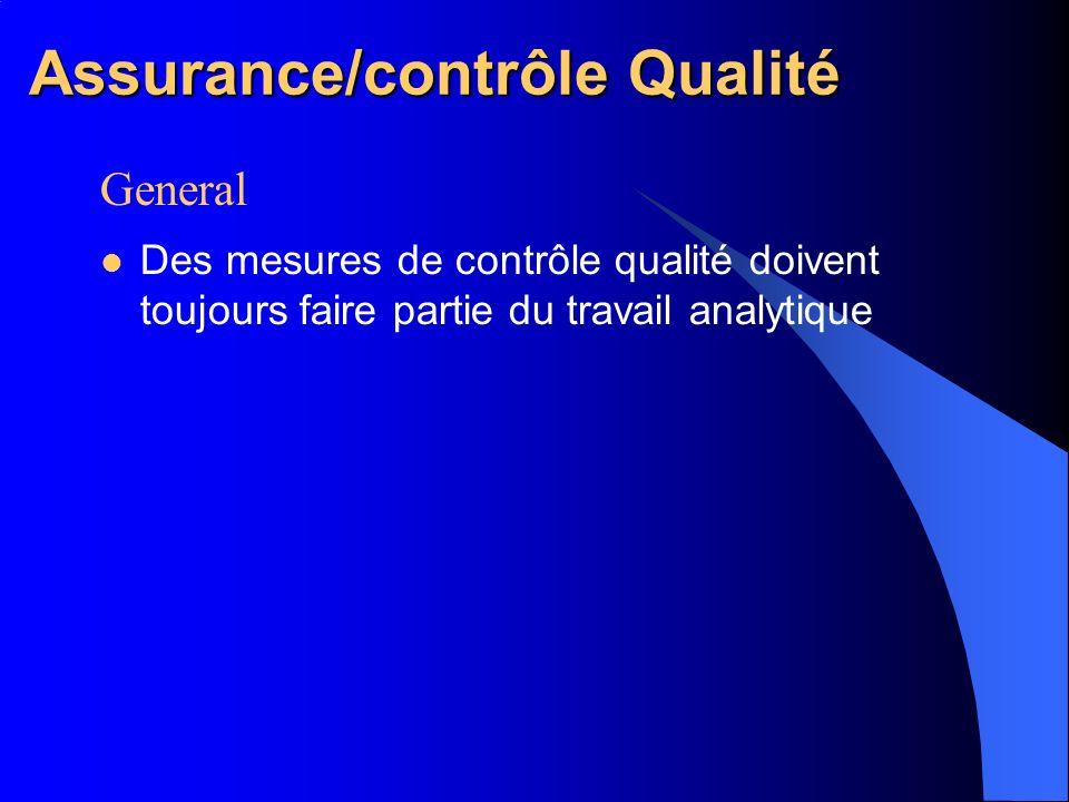 Assurance/contrôle Qualité General Des mesures de contrôle qualité doivent toujours faire partie du travail analytique