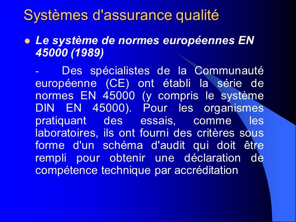 Systèmes d'assurance qualité Le système de normes européennes EN 45000 (1989) - Des spécialistes de la Communauté européenne (CE) ont établi la série