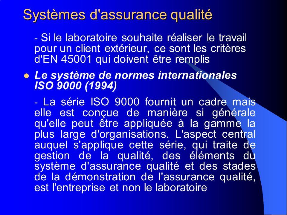 Systèmes d'assurance qualité - Si le laboratoire souhaite réaliser le travail pour un client extérieur, ce sont les critères d'EN 45001 qui doivent êt