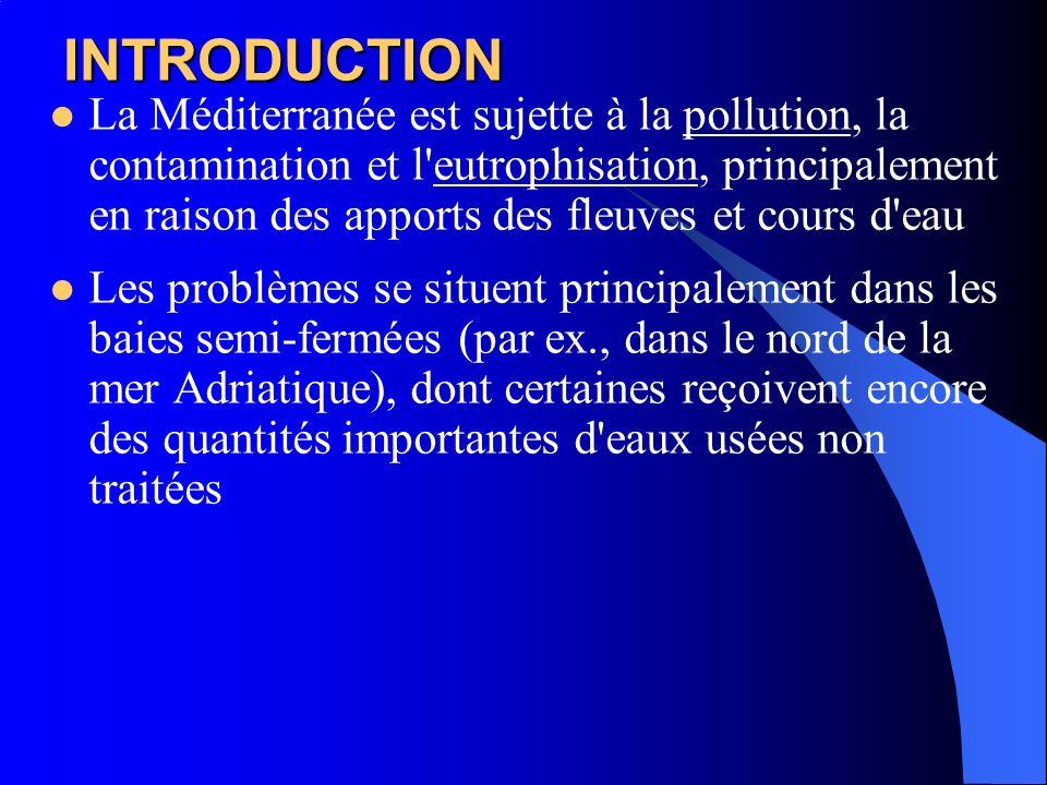 INTRODUCTION La Méditerranée est sujette à la pollution, la contamination et l'eutrophisation, principalement en raison des apports des fleuves et cou