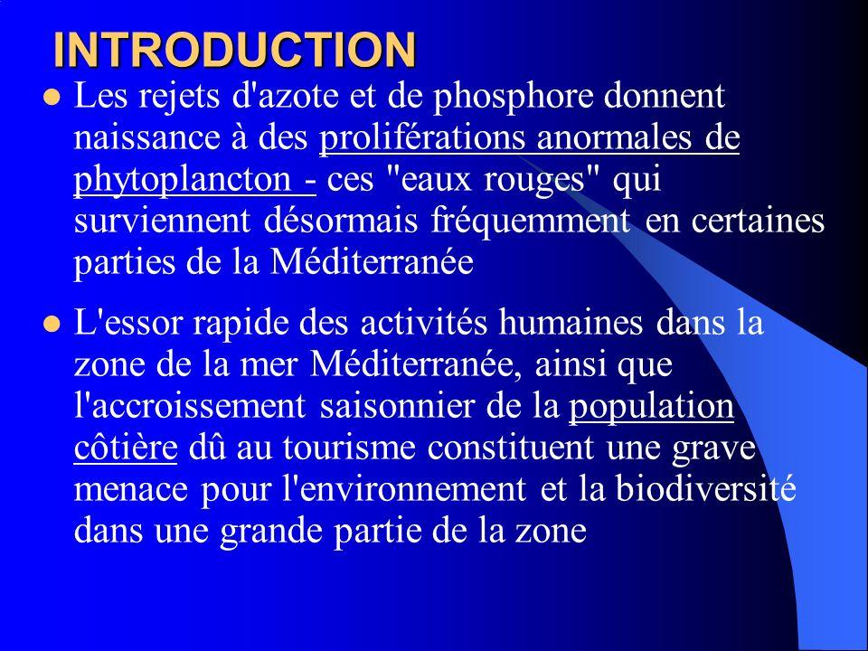 INTRODUCTION Les rejets d'azote et de phosphore donnent naissance à des proliférations anormales de phytoplancton - ces