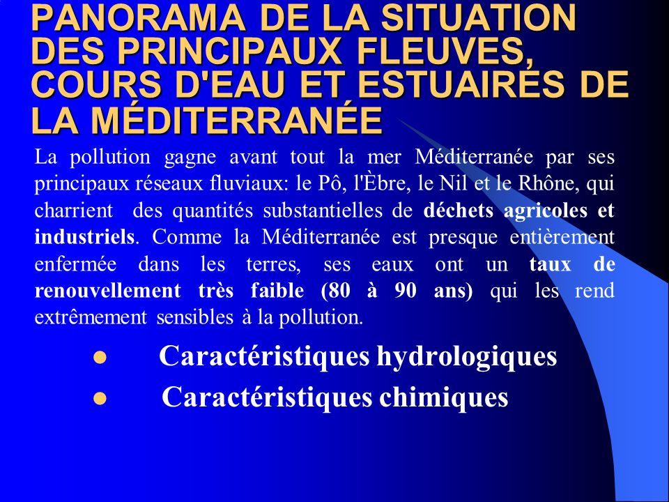 PANORAMA DE LA SITUATION DES PRINCIPAUX FLEUVES, COURS D EAU ET ESTUAIRES DE LA MÉDITERRANÉE Caractéristiques microbiologiques Caractéristiques physiques La pollution gagne avant tout la mer Méditerranée par ses principaux réseaux fluviaux: le Pô, l Èbre, le Nil et le Rhône, qui charrient des quantités substantielles de déchets agricoles et industriels.