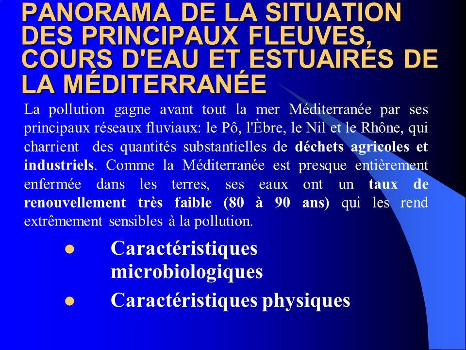 PANORAMA DE LA SITUATION DES PRINCIPAUX FLEUVES, COURS D'EAU ET ESTUAIRES DE LA MÉDITERRANÉE Caractéristiques microbiologiques Caractéristiques physiq