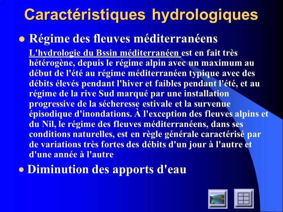 Caractéristiques hydrologiques Régime des fleuves méditerranéens L'hydrologie du Bssin méditerranéen est en fait très hétérogène, depuis le régime alp
