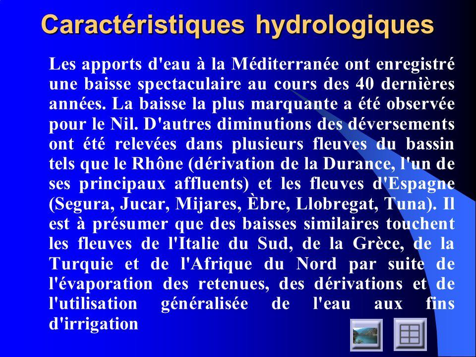 Caractéristiques hydrologiques La réduction actuelle des déversements fluviaux dans l ensemble du Bassin, compte tenu de la réduction quasi totale des apports du Nil, se situe, selon les estimations, entre 30 et 40%.