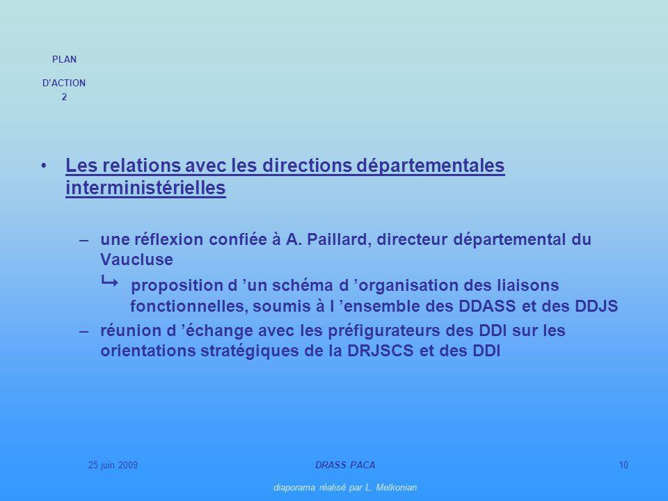 25 juin 2009DRASS PACA diaporama réalisé par L. Melkonian 10 Les relations avec les directions départementales interministérielles –une réflexion conf
