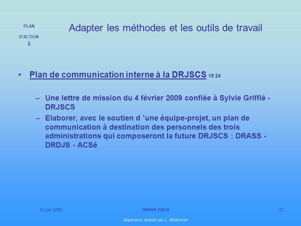 25 juin 2009DRASS PACA diaporama réalisé par L. Melkonian 12 Plan de communication interne à la DRJSCS 18 24 –Une lettre de mission du 4 février 2009